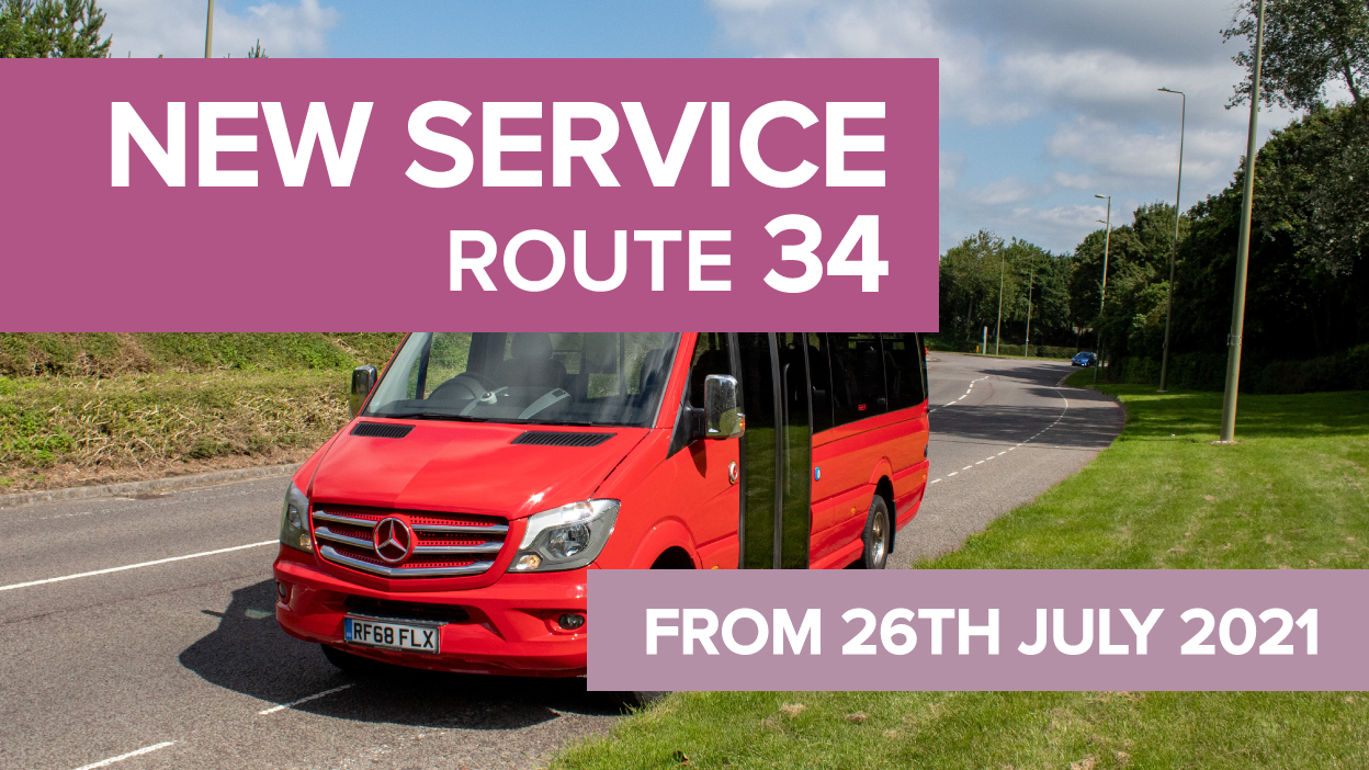 Photo of a bus Text - New service route 34 from 26th July 2021