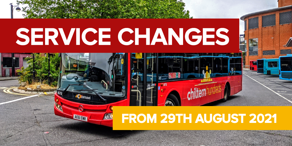 """Photo of a Carousel bus, text reading """"Service changes - 29th August 2021"""""""