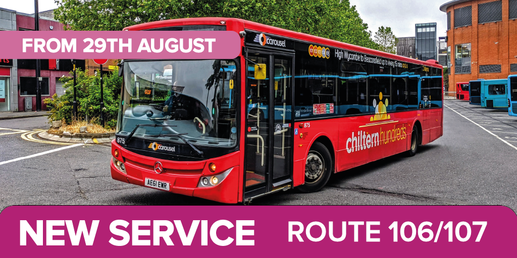 picture of a Caoursel Bus. Text - New Service route 106/107 from 29th August