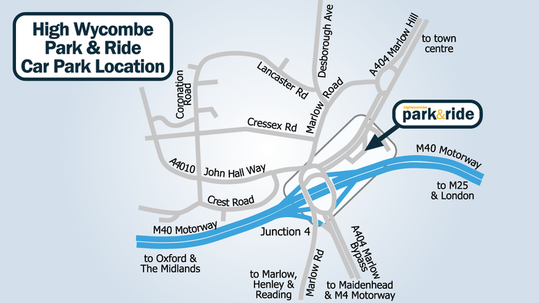High Wycombe Park & Ride Car Park Location map